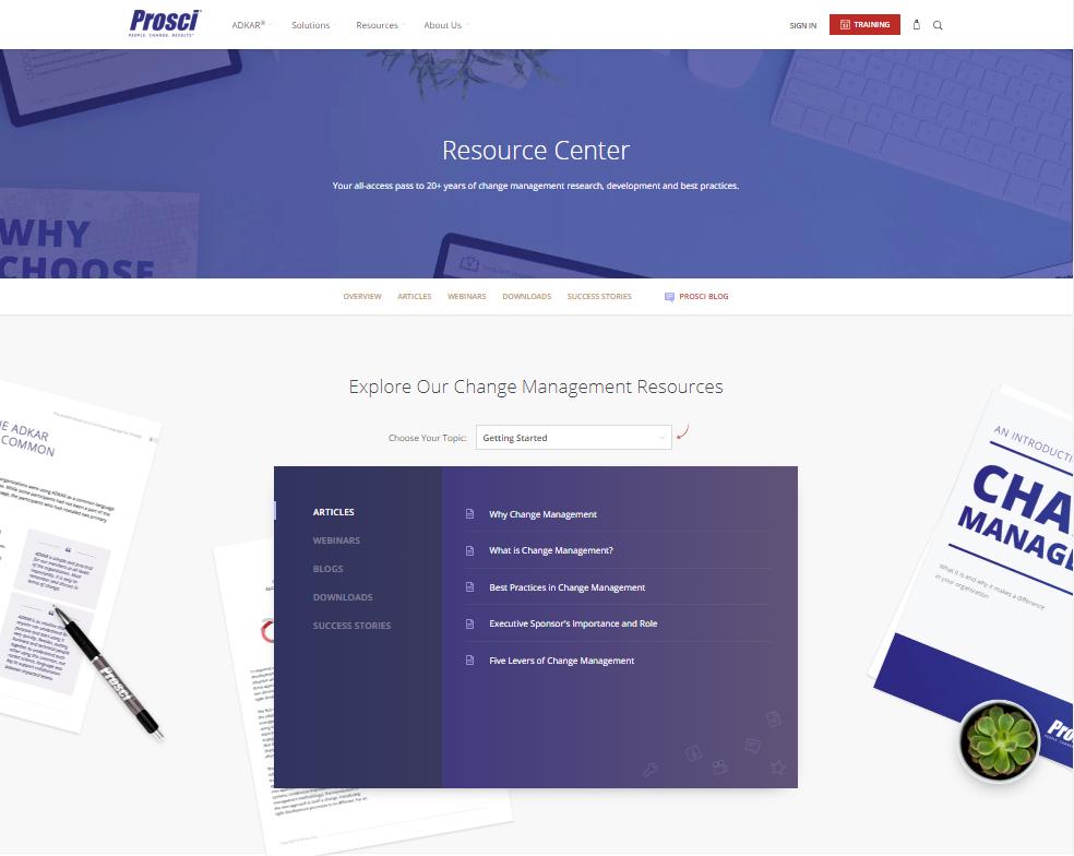 Change Management Resource Center   Prosci